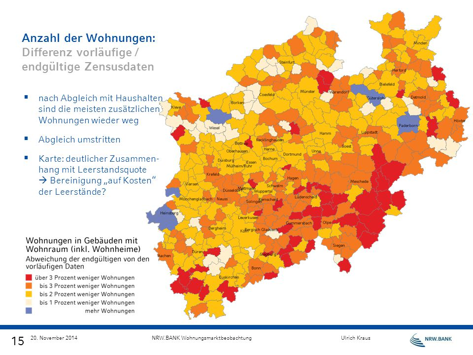 Anzahl der Wohnungen: Differenz vorläufige / endgültige Zensusdaten