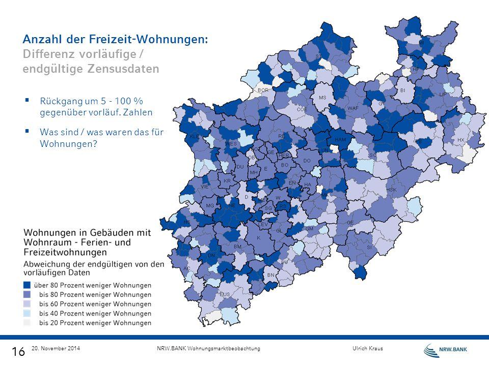 Anzahl der Freizeit-Wohnungen: Differenz vorläufige / endgültige Zensusdaten