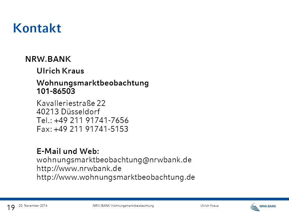 Kontakt NRW.BANK Ulrich Kraus Wohnungsmarktbeobachtung 101-86503
