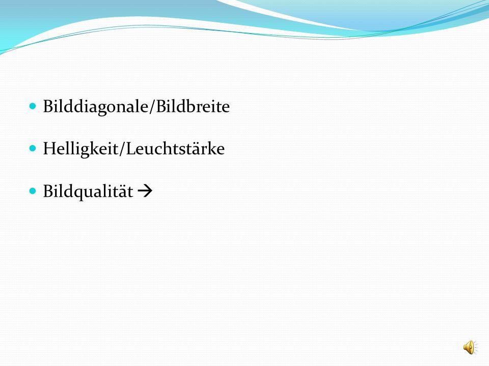 Bilddiagonale/Bildbreite