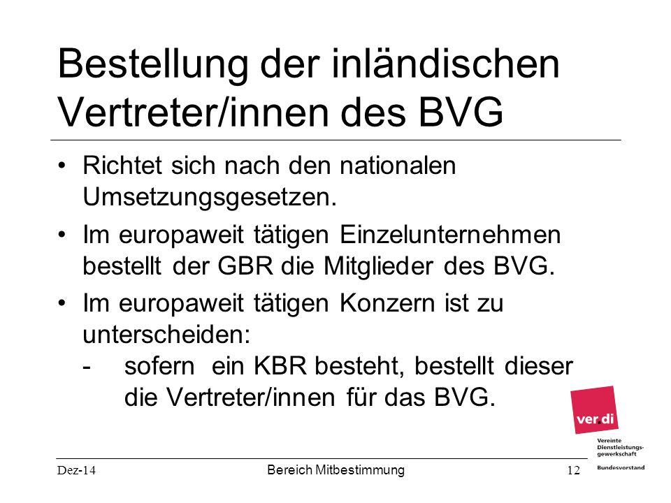 Bestellung der inländischen Vertreter/innen des BVG