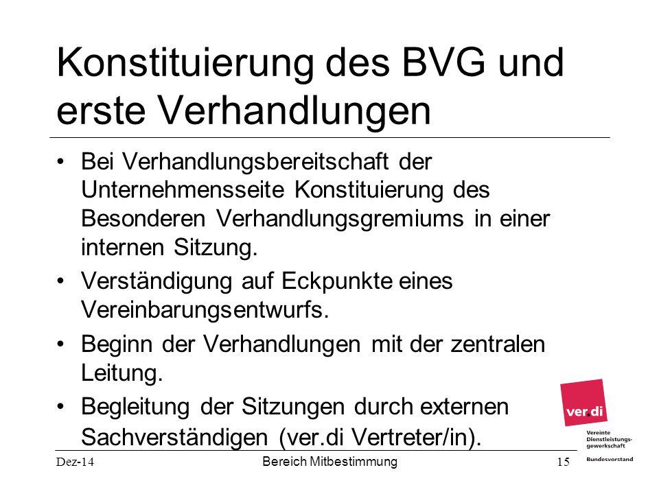 Konstituierung des BVG und erste Verhandlungen