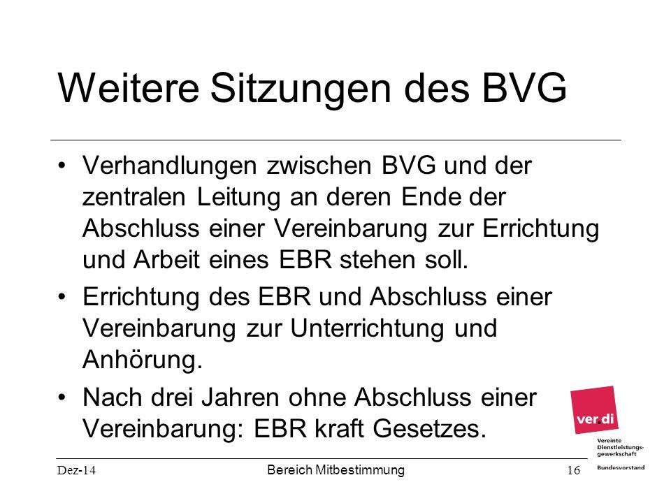 Weitere Sitzungen des BVG