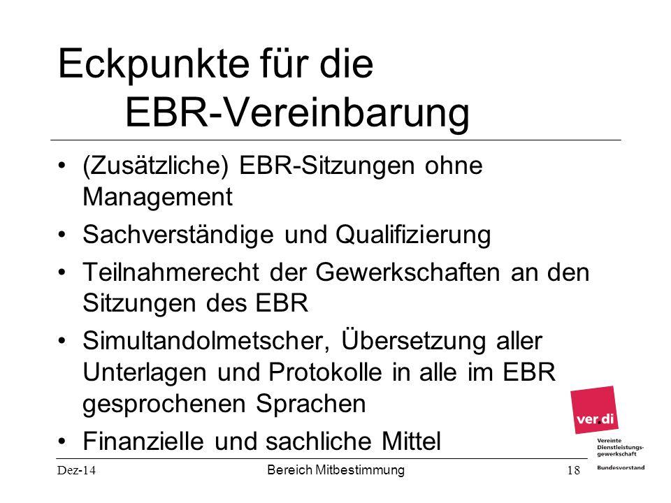 Eckpunkte für die EBR-Vereinbarung