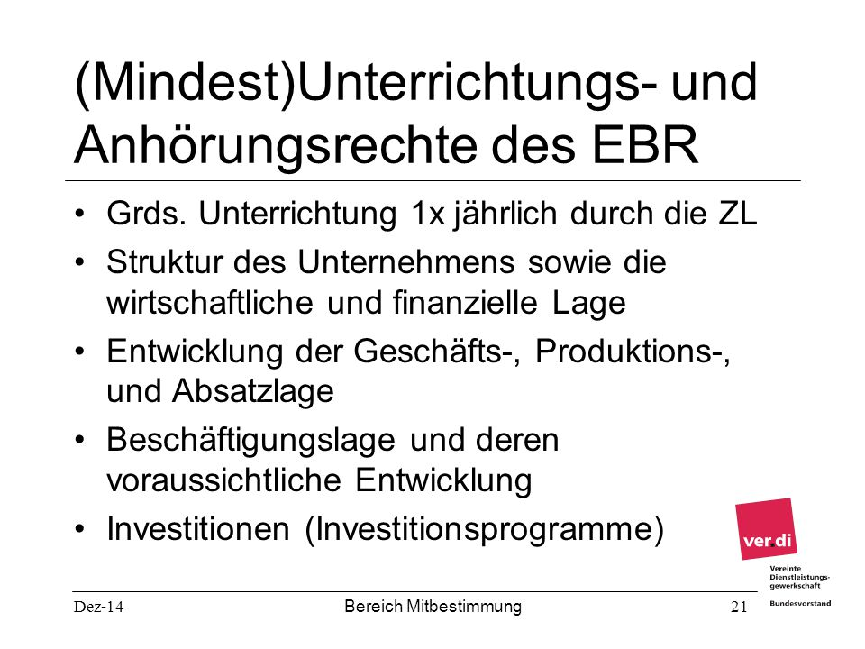 (Mindest)Unterrichtungs- und Anhörungsrechte des EBR