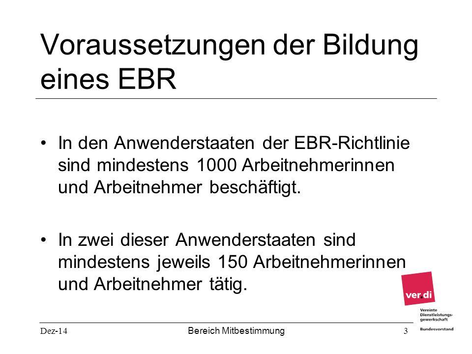 Voraussetzungen der Bildung eines EBR