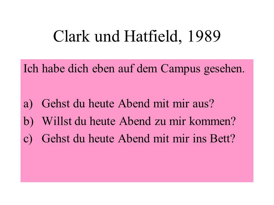 Clark und Hatfield, 1989 Ich habe dich eben auf dem Campus gesehen.