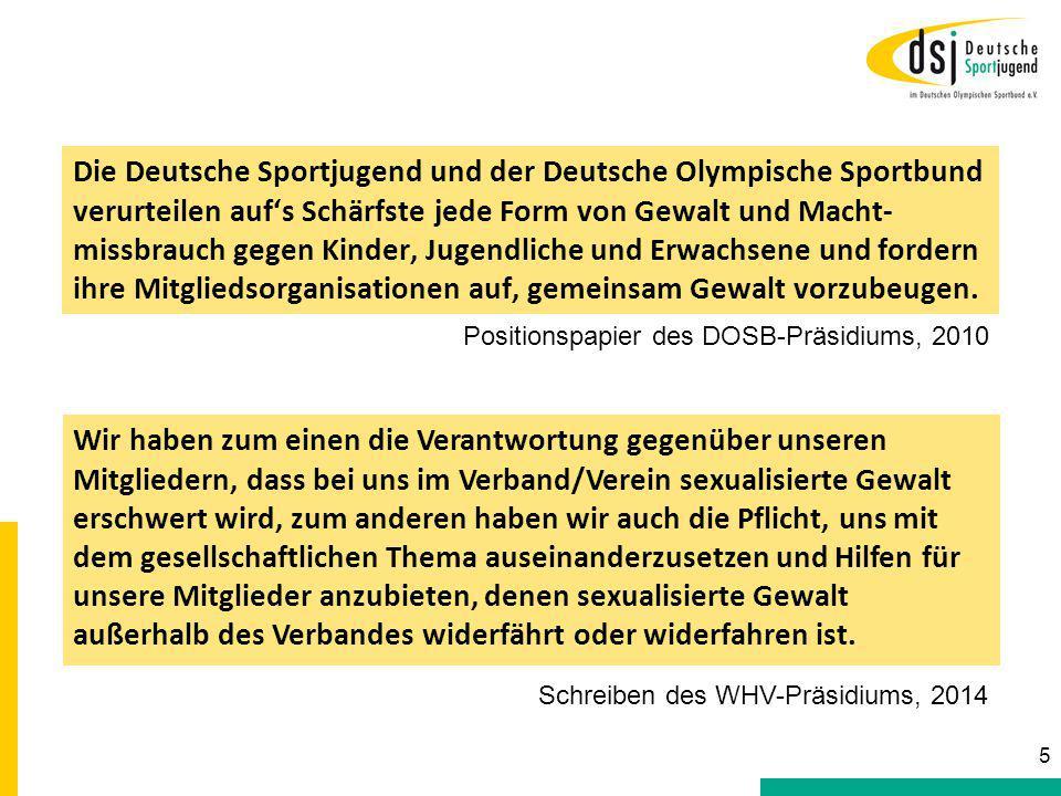 Die Deutsche Sportjugend und der Deutsche Olympische Sportbund verurteilen auf's Schärfste jede Form von Gewalt und Macht-missbrauch gegen Kinder, Jugendliche und Erwachsene und fordern ihre Mitgliedsorganisationen auf, gemeinsam Gewalt vorzubeugen.