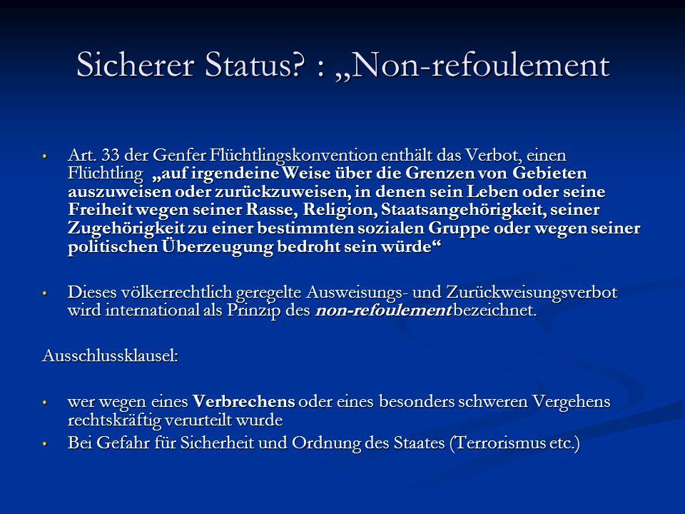 "Sicherer Status : ""Non-refoulement"