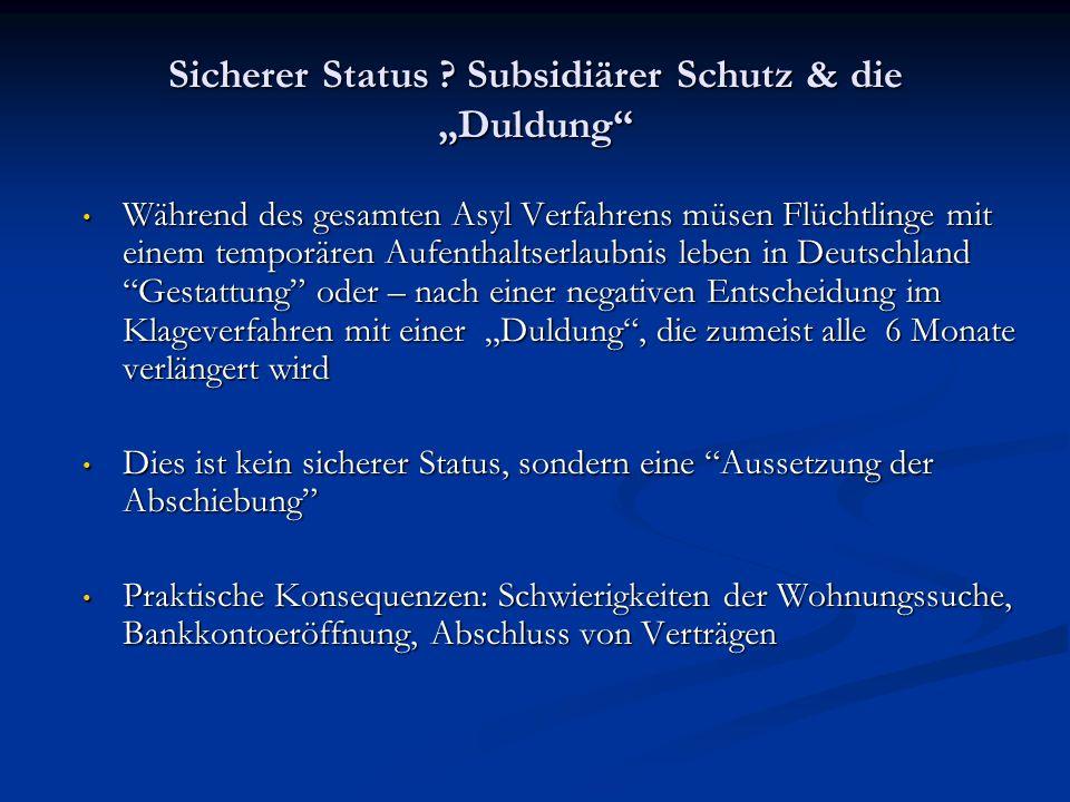 """Sicherer Status Subsidiärer Schutz & die """"Duldung"""