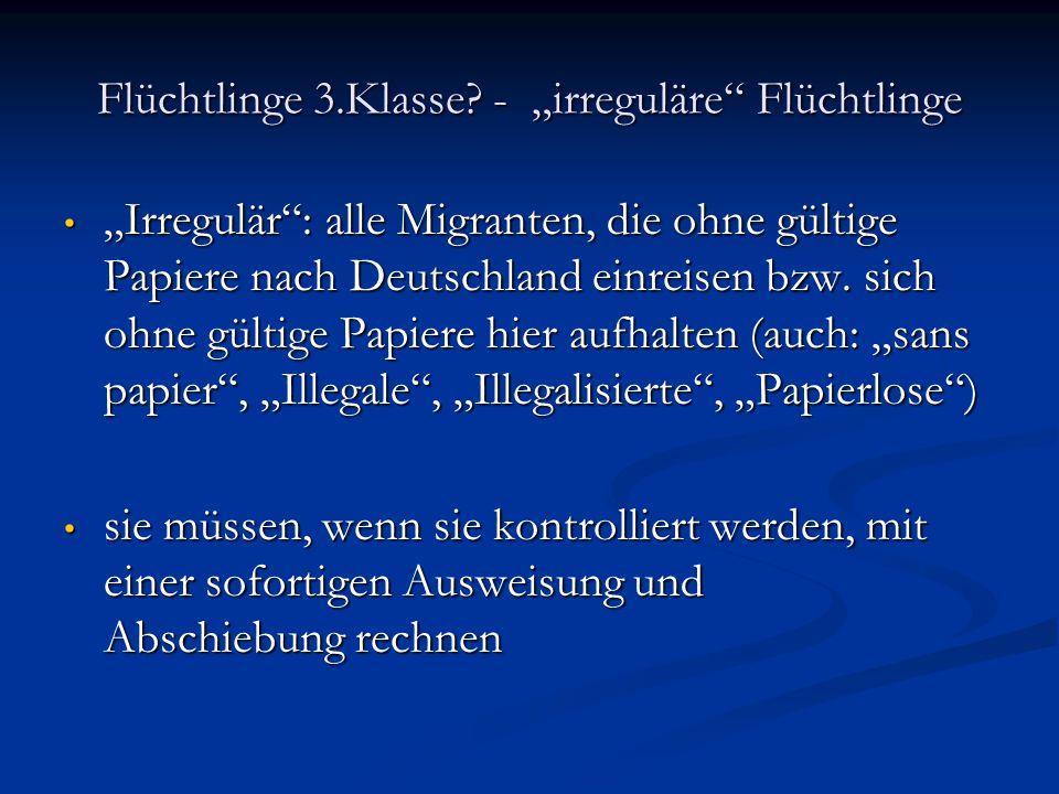 """Flüchtlinge 3.Klasse - """"irreguläre Flüchtlinge"""