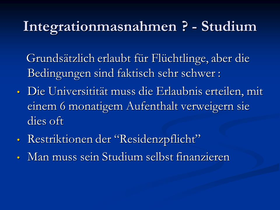 Integrationmasnahmen - Studium
