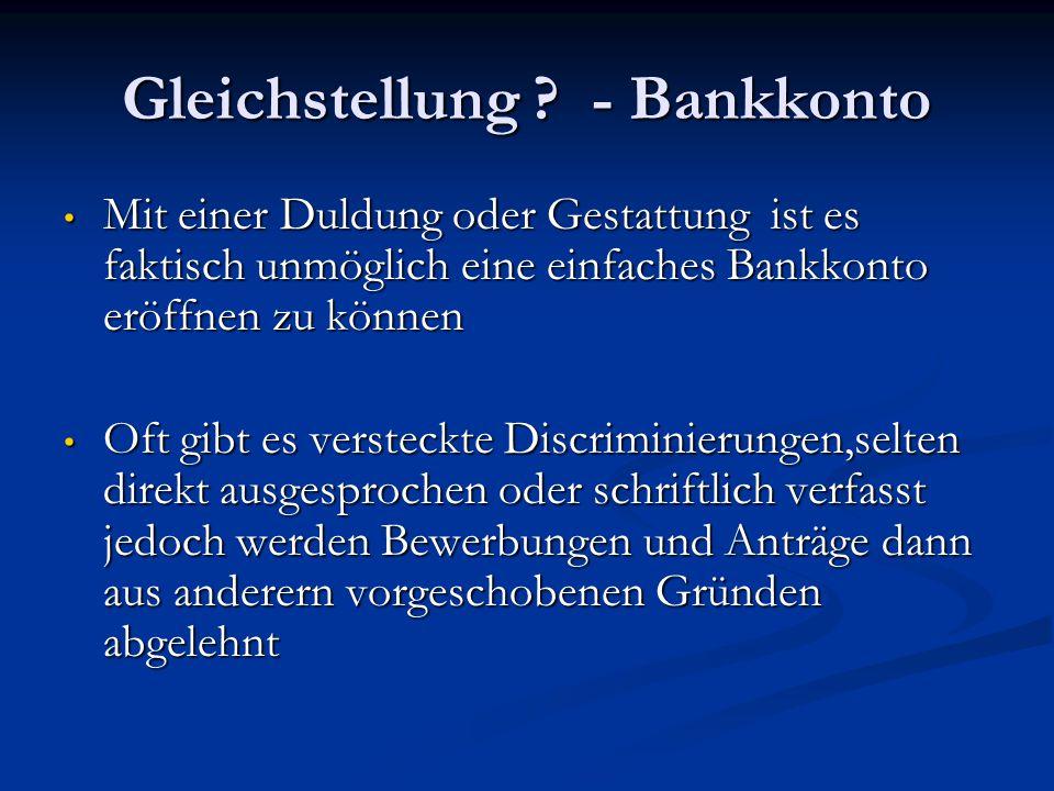 Gleichstellung - Bankkonto