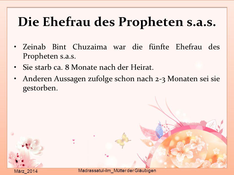 Die Ehefrau des Propheten s.a.s.