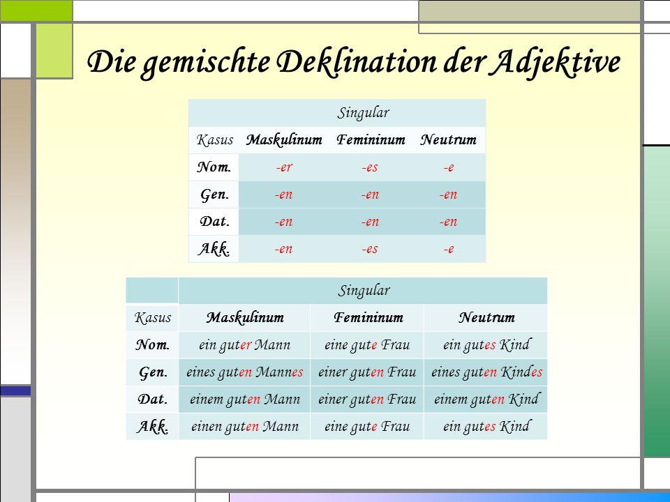 Die gemischte Deklination der Adjektive