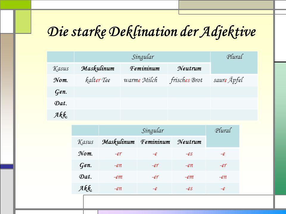 Die starke Deklination der Adjektive