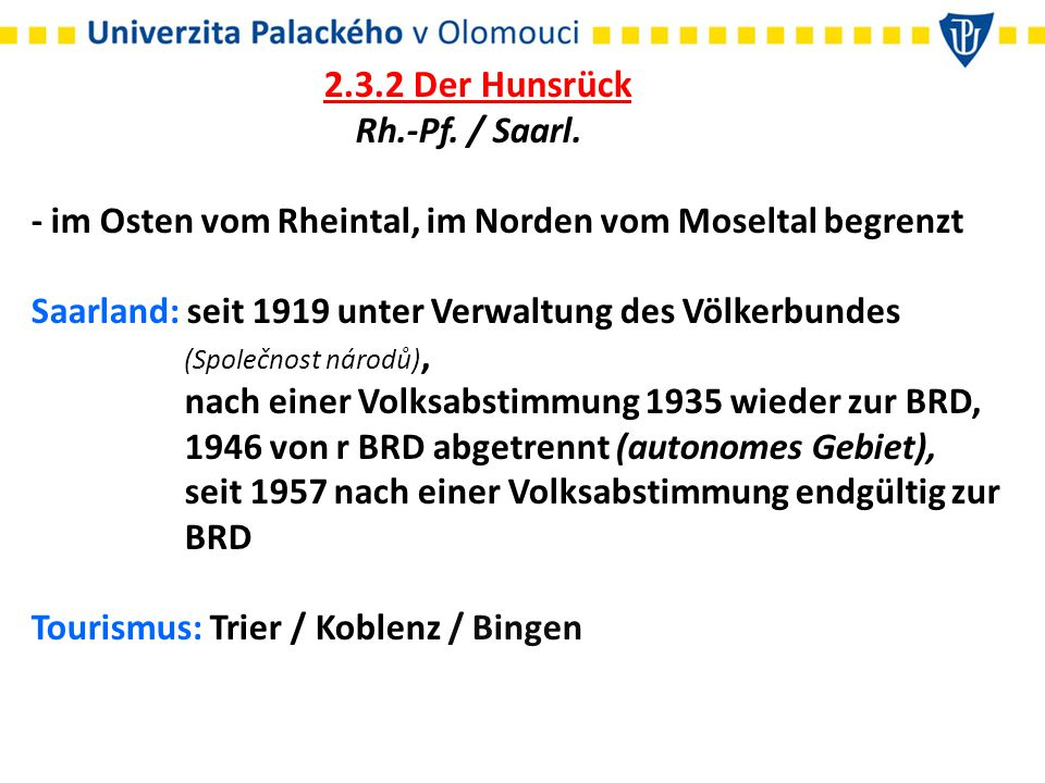 2.3.2 Der Hunsrück Rh.-Pf. / Saarl.
