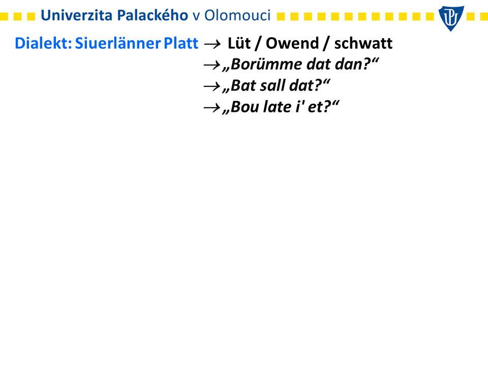 Dialekt: Siuerlänner Platt  Lüt / Owend / schwatt
