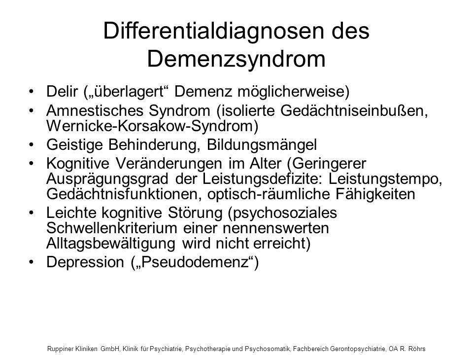 Differentialdiagnosen des Demenzsyndrom