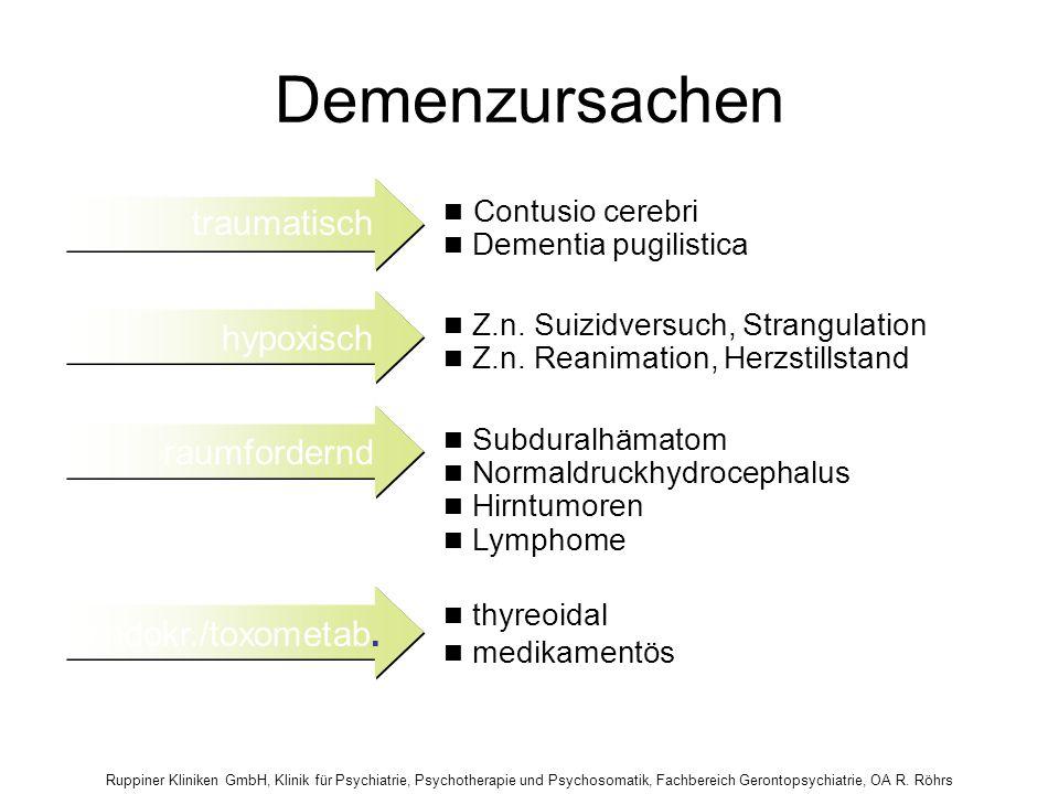 Demenzursachen traumatisch hypoxisch raumfordernd endokr./toxometab.