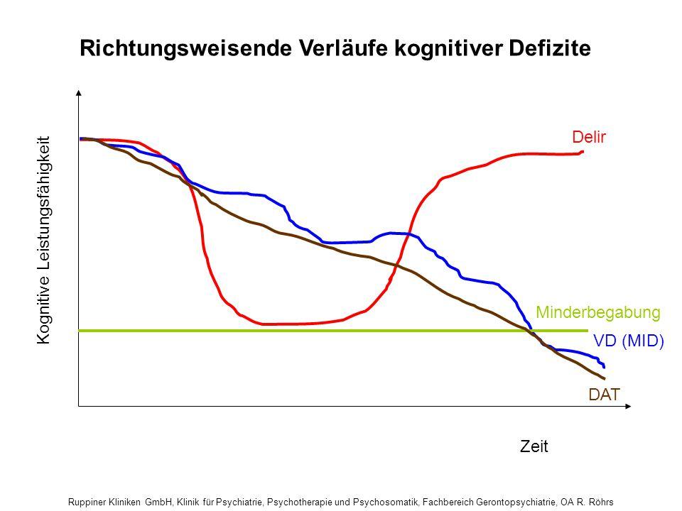 Richtungsweisende Verläufe kognitiver Defizite