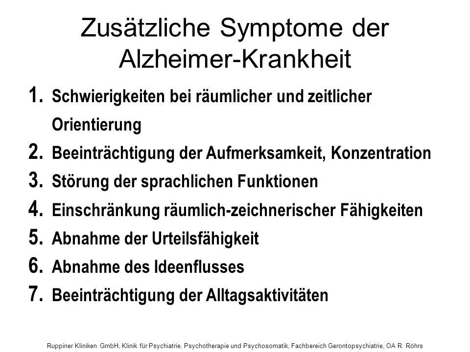Zusätzliche Symptome der Alzheimer-Krankheit