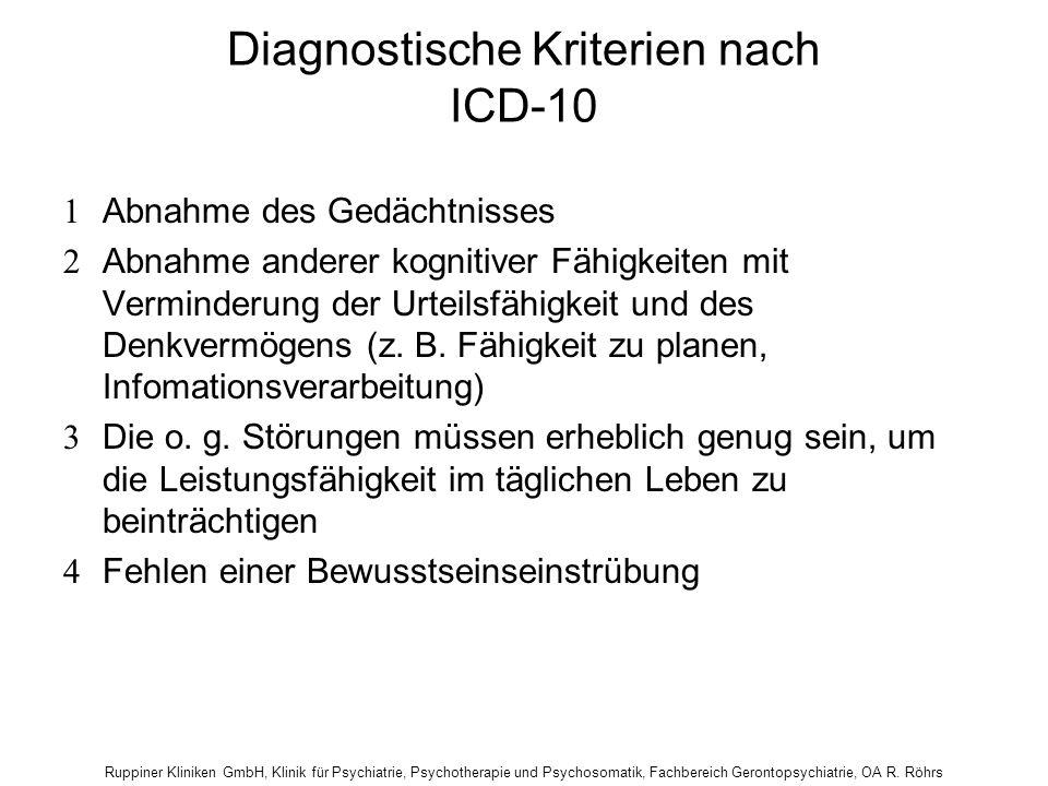 Diagnostische Kriterien nach ICD-10