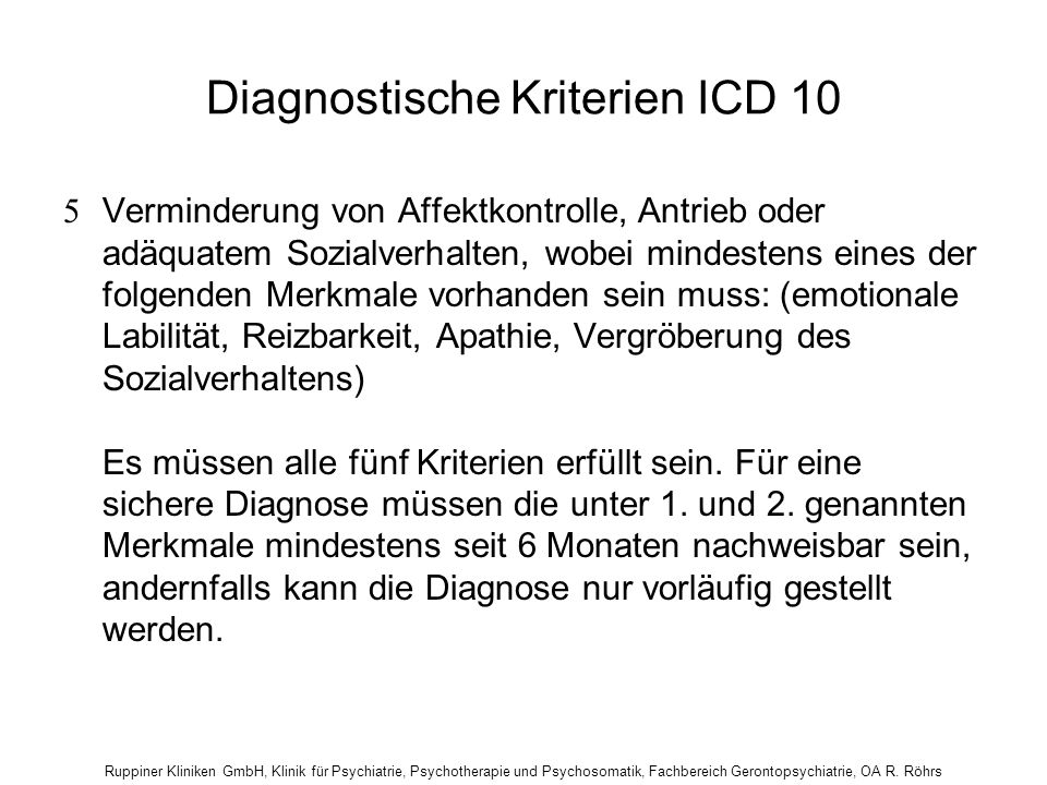 Diagnostische Kriterien ICD 10