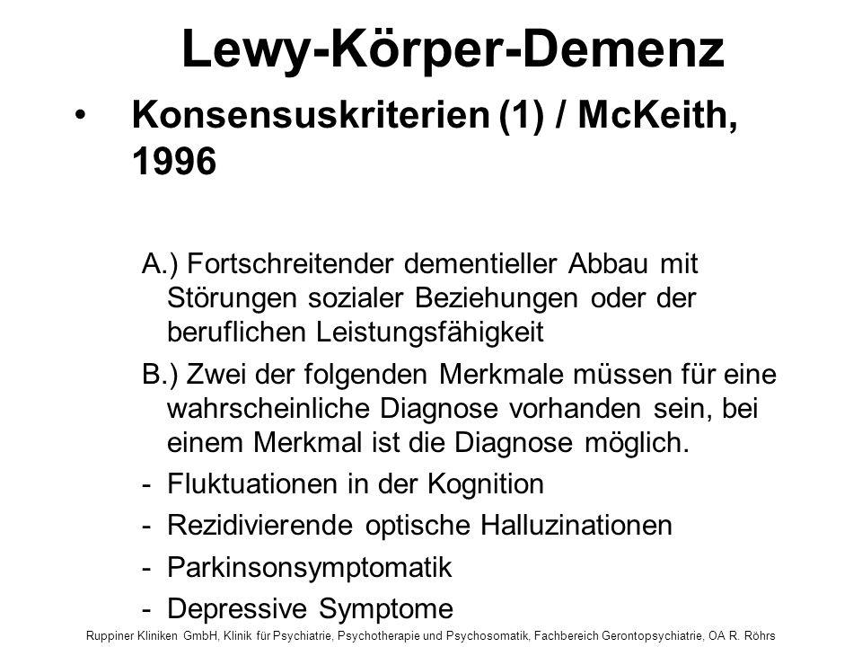 Lewy-Körper-Demenz Konsensuskriterien (1) / McKeith, 1996