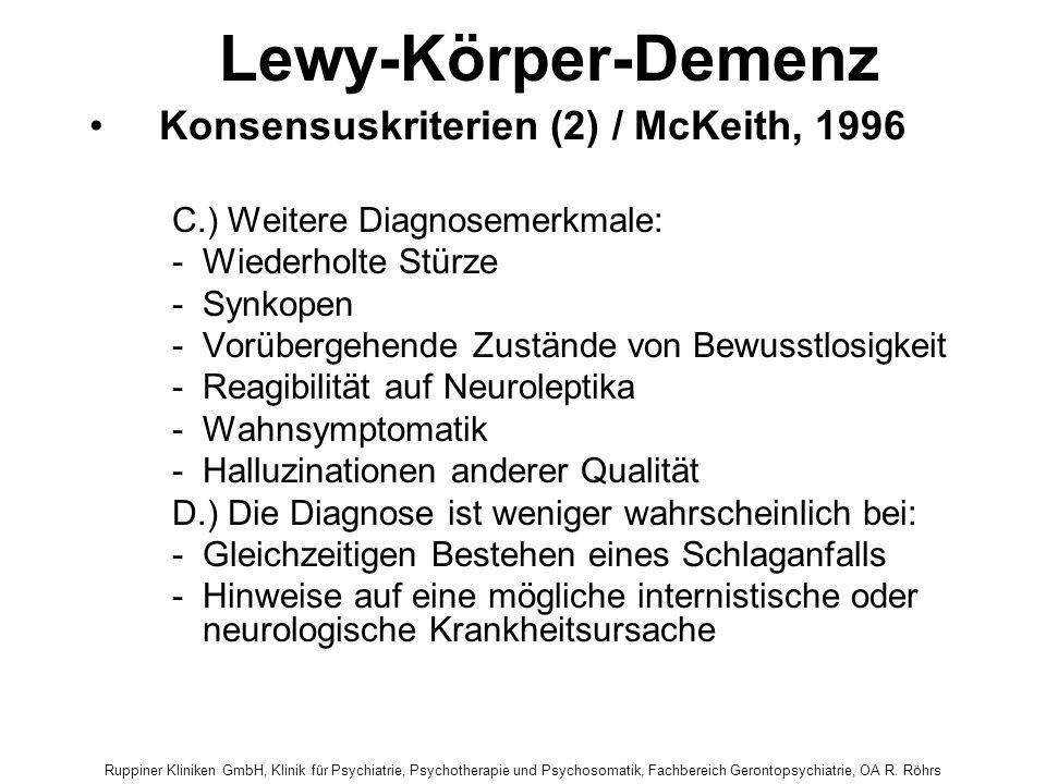 Lewy-Körper-Demenz Konsensuskriterien (2) / McKeith, 1996