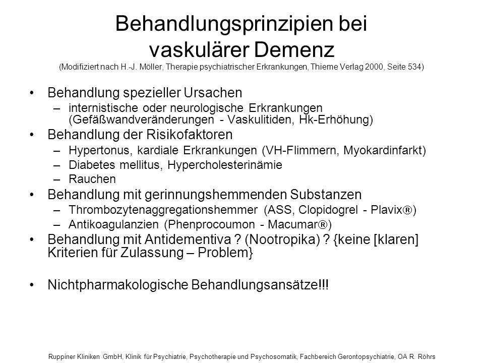 Behandlungsprinzipien bei vaskulärer Demenz (Modifiziert nach H. -J