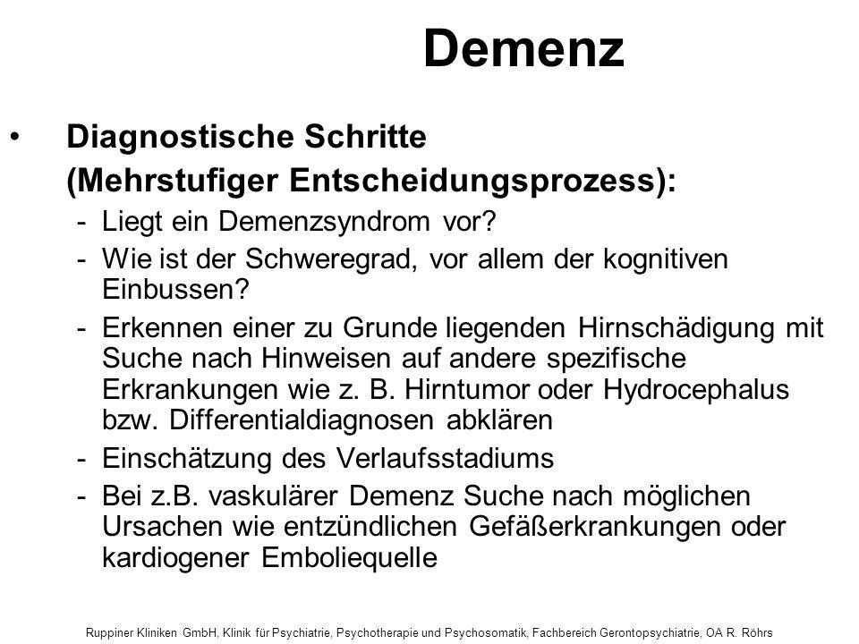 Demenz Diagnostische Schritte (Mehrstufiger Entscheidungsprozess):