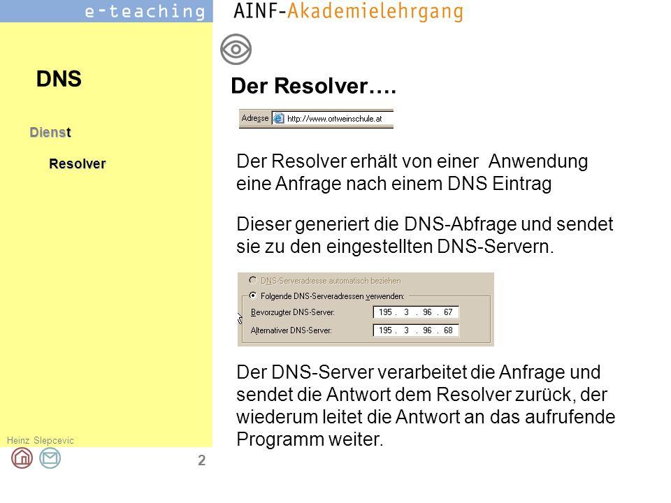 DNS Der Resolver…. Dienst. Resolver. Der Resolver erhält von einer Anwendung eine Anfrage nach einem DNS Eintrag.