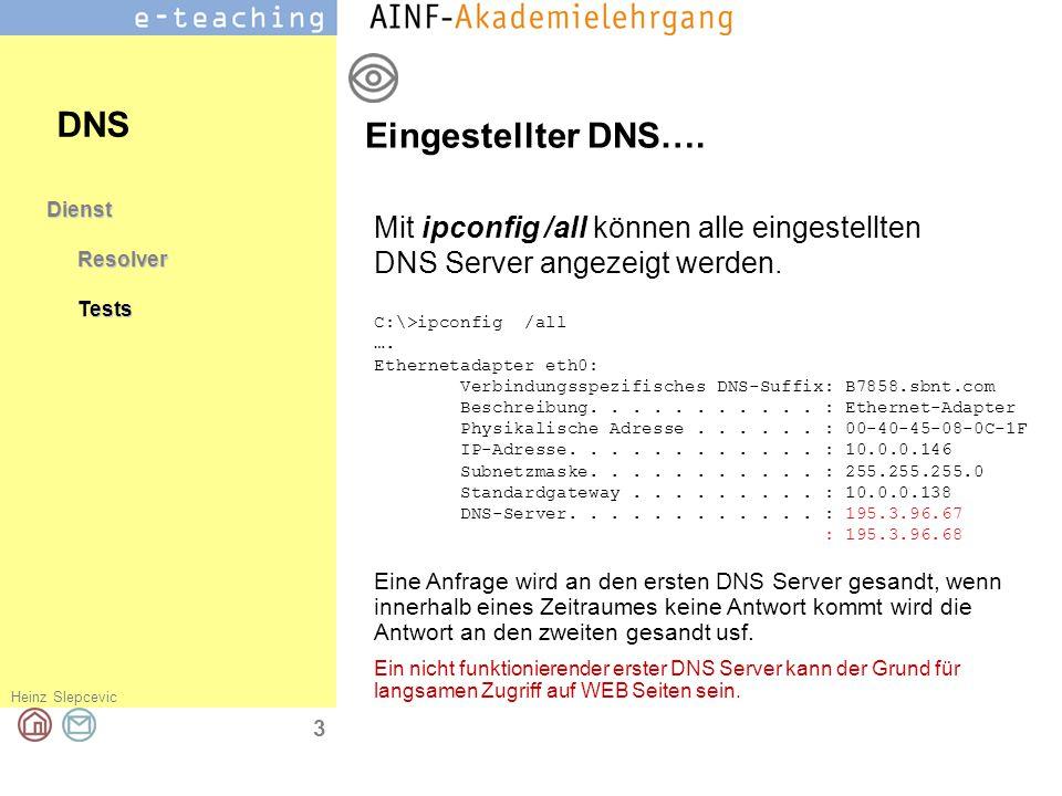 DNS Eingestellter DNS….