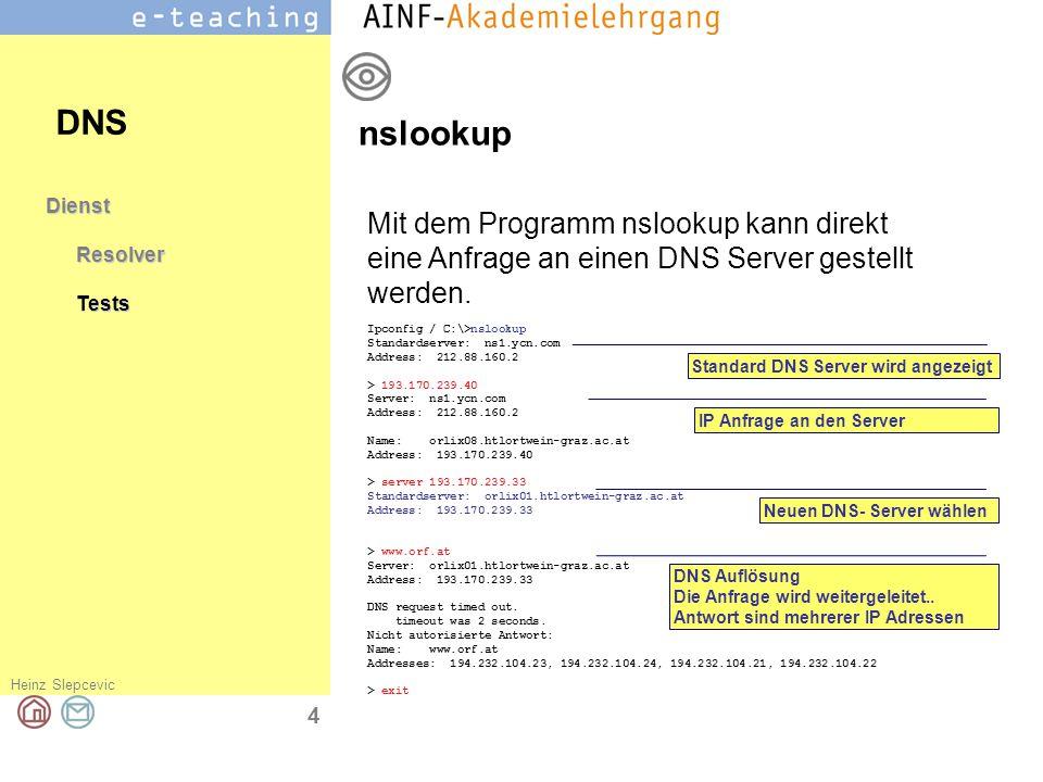 DNS nslookup. Dienst. Resolver. Tests. Mit dem Programm nslookup kann direkt eine Anfrage an einen DNS Server gestellt werden.