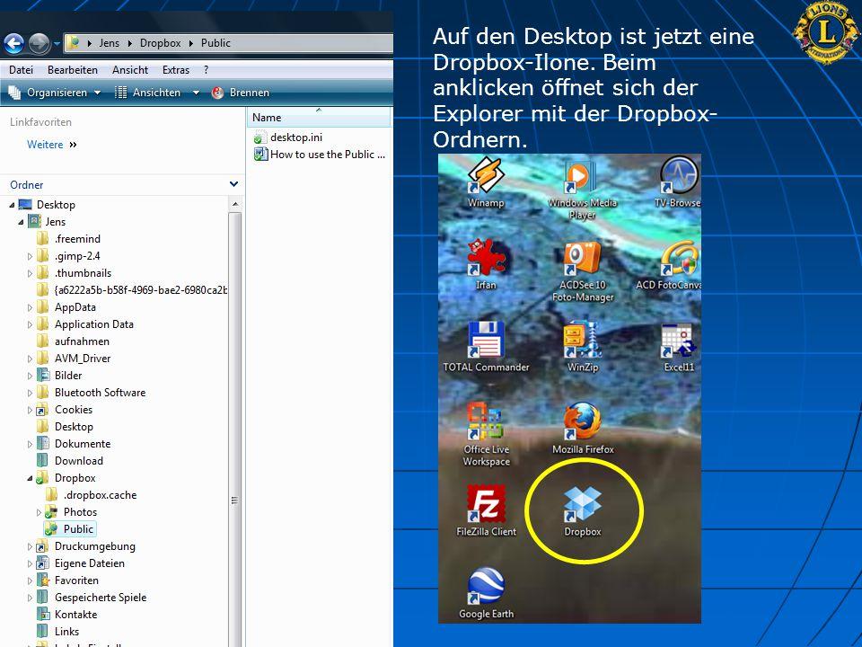Auf den Desktop ist jetzt eine Dropbox-Ilone