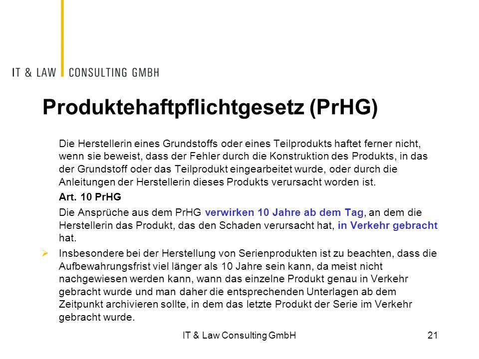 Produktehaftpflichtgesetz (PrHG)