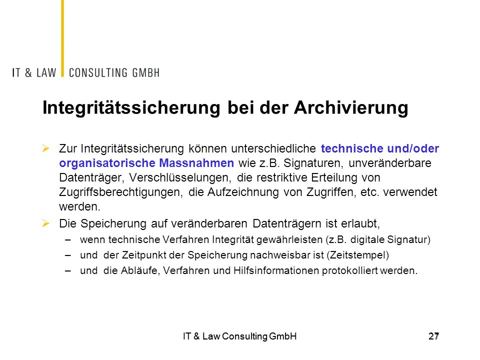 Integritätssicherung bei der Archivierung