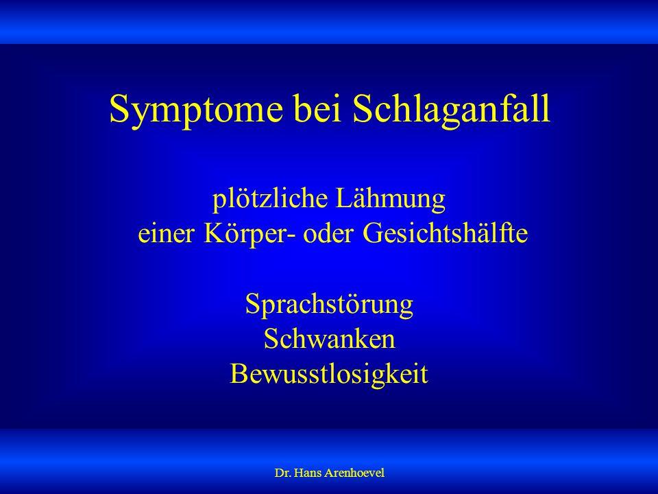 Symptome bei Schlaganfall plötzliche Lähmung einer Körper- oder Gesichtshälfte Sprachstörung Schwanken Bewusstlosigkeit