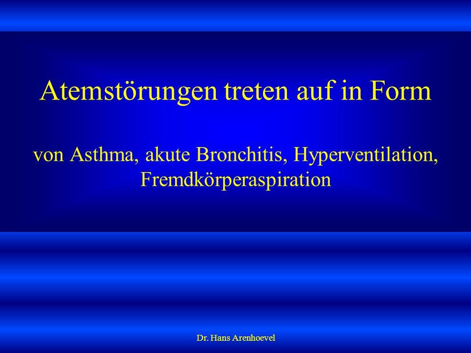 Atemstörungen treten auf in Form von Asthma, akute Bronchitis, Hyperventilation, Fremdkörperaspiration
