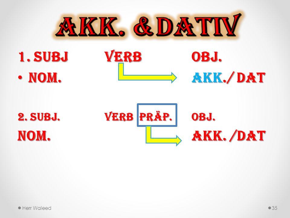 Akk. &Dativ 1. Subj Verb Obj. Nom. Akk./ Dat Nom. Akk. /Dat