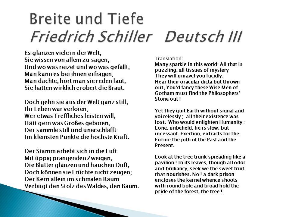 Breite und Tiefe Friedrich Schiller Deutsch III