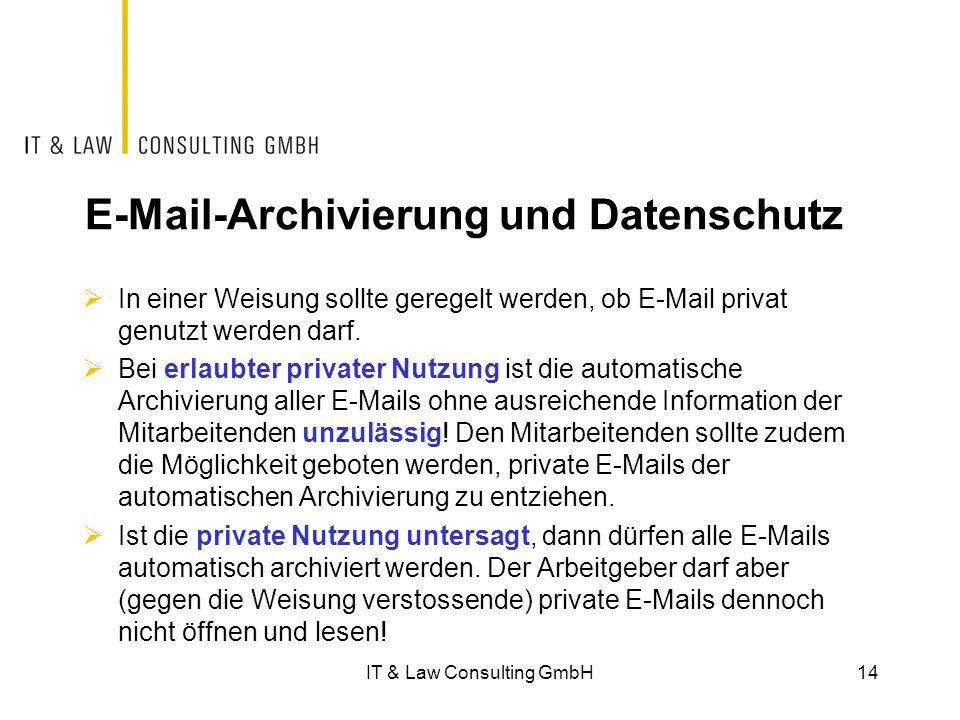 E-Mail-Archivierung und Datenschutz