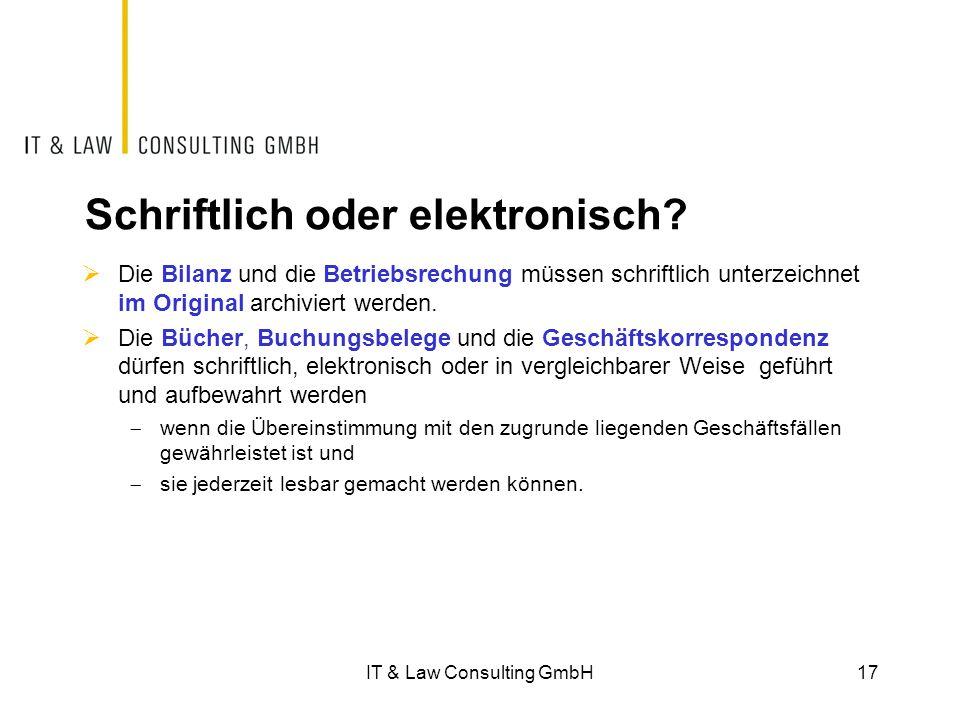 Schriftlich oder elektronisch