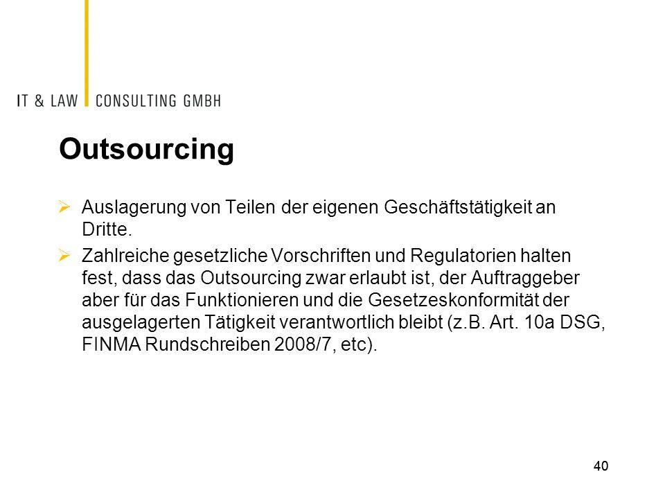 Outsourcing Auslagerung von Teilen der eigenen Geschäftstätigkeit an Dritte.
