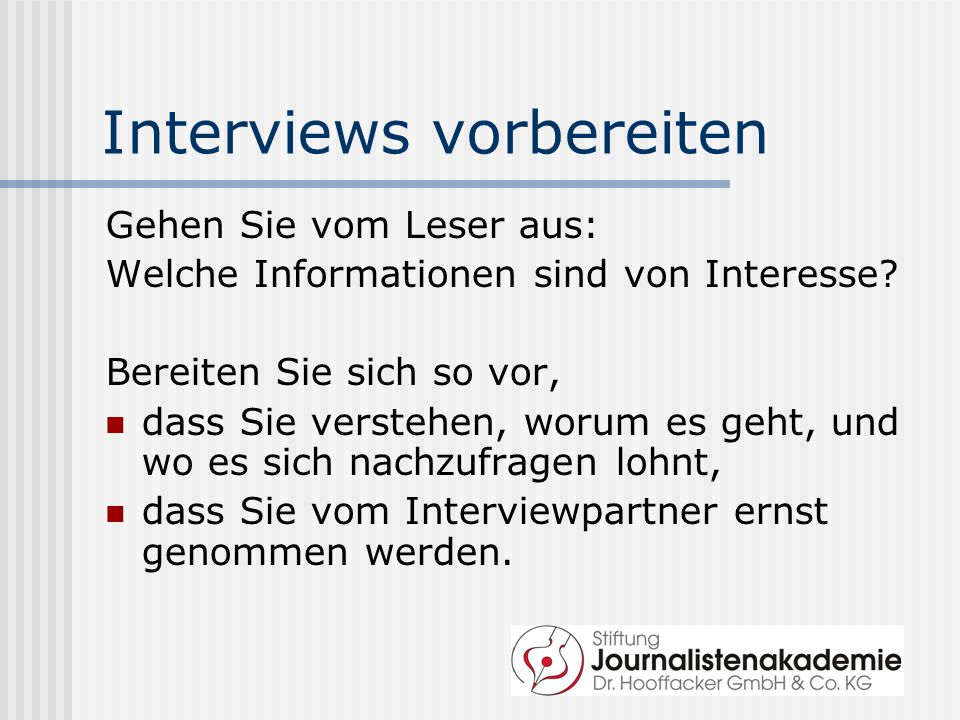 Interviews vorbereiten