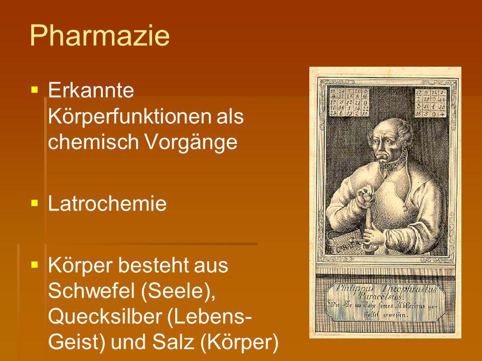 Pharmazie Erkannte Körperfunktionen als chemisch Vorgänge Latrochemie