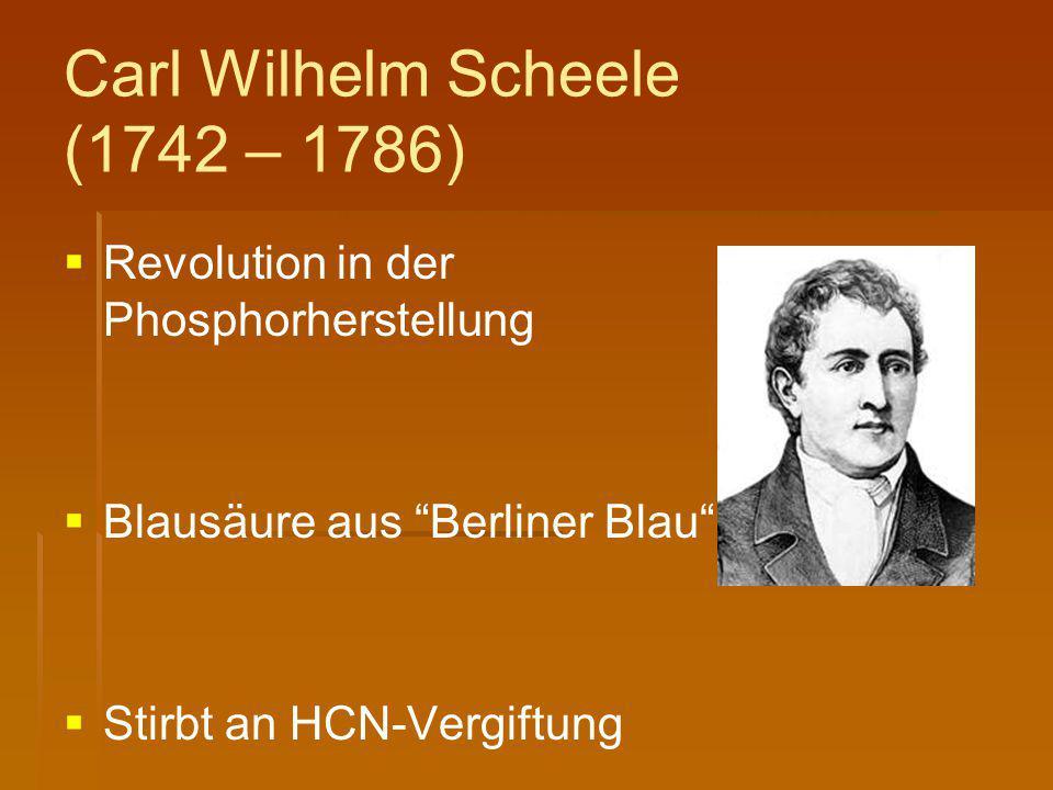 Carl Wilhelm Scheele (1742 – 1786)