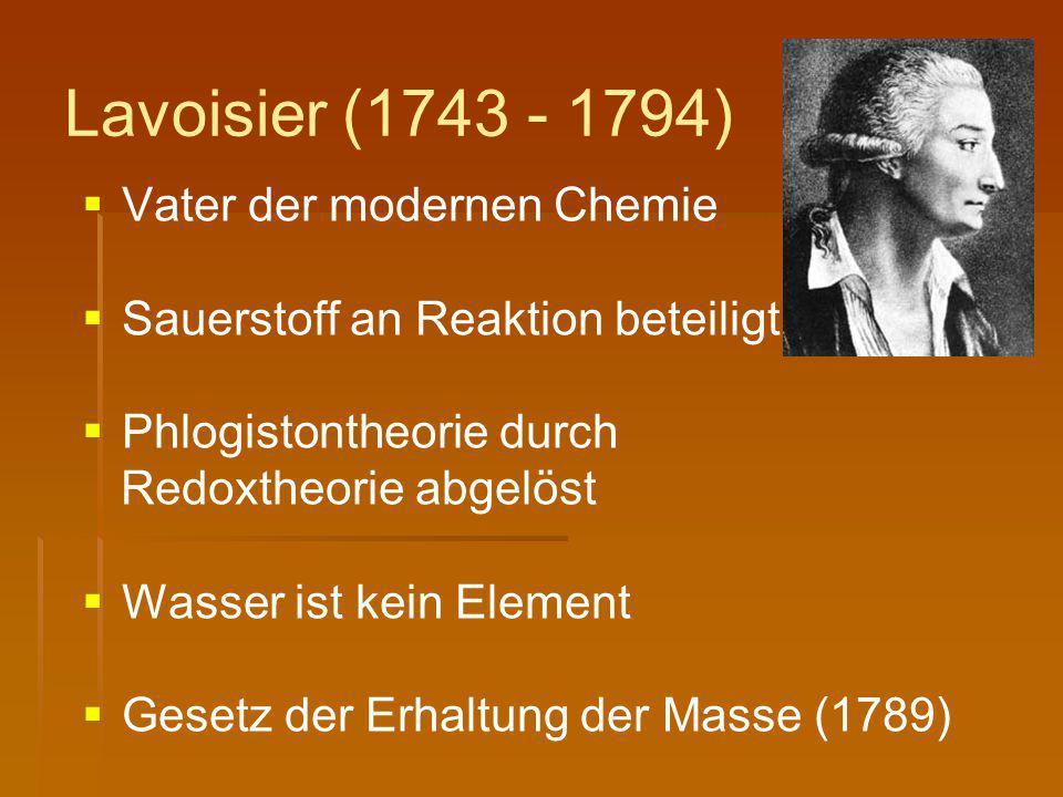 Lavoisier (1743 - 1794) Vater der modernen Chemie