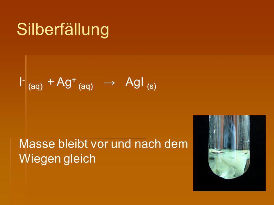 Silberfällung I- (aq) + Ag+ (aq) → AgI (s)